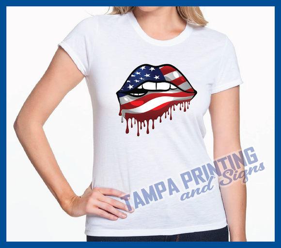 USA Dripping Lips Shirt - PatrioticLips-0602