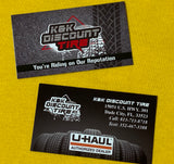 Business Cards for K & K Discount Tire