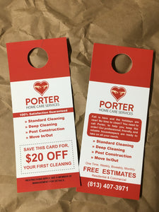 Door Hangers, double sided print, for Porter Home Care Services