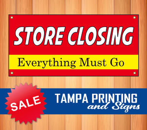Store Closing Everything Must Go Red Banner