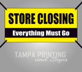 Store Closing Everything Must Go Yellow Banner