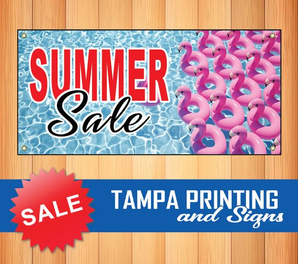 Summer Sale Flamingo Floatie Banner
