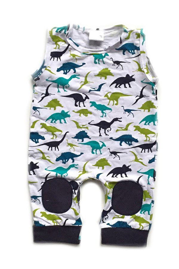 Dinosaur Romper with Navy Knee Pads
