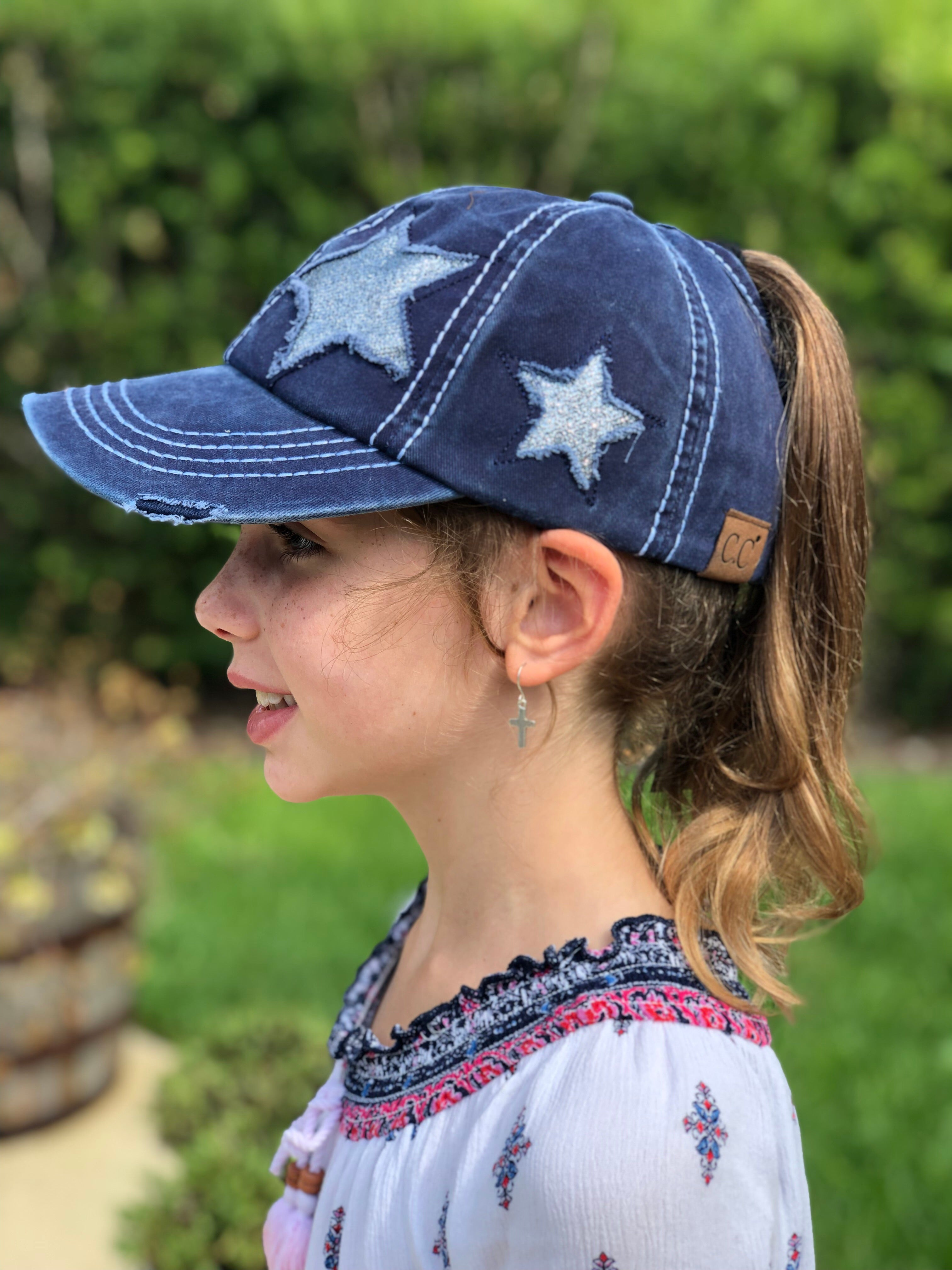 Glitter Star Distressed High Ponytail Hat