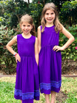 Purple Knee Length Dress
