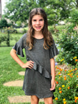 Charcoal Jersey Ruffle Dress
