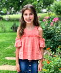 Peach Ruffle Cold Shoulder