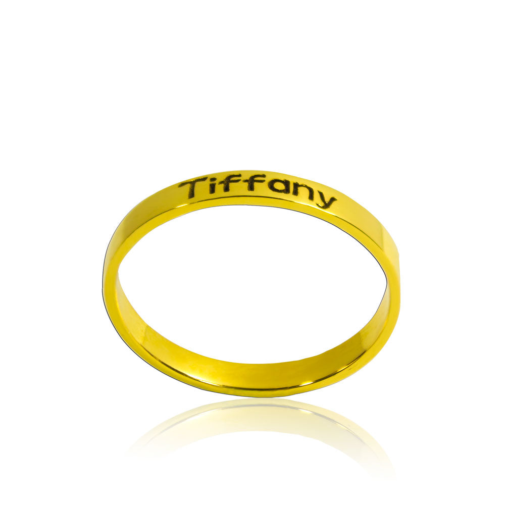 Engraved Name Ring Minimalist Gold