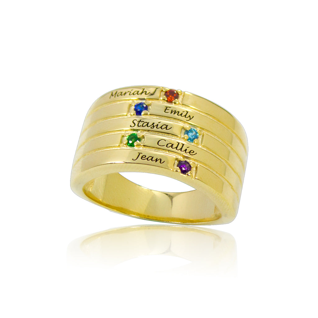 Personalized Family Birthstone Ring with 5 Names Gold