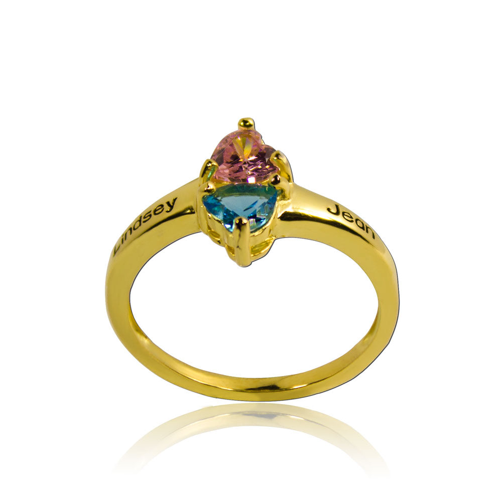 Birthstone Ring Engraved Names Gold