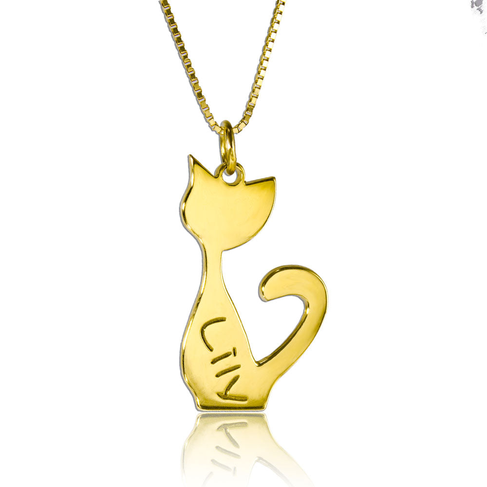 Cat Nameplate Necklace Gold