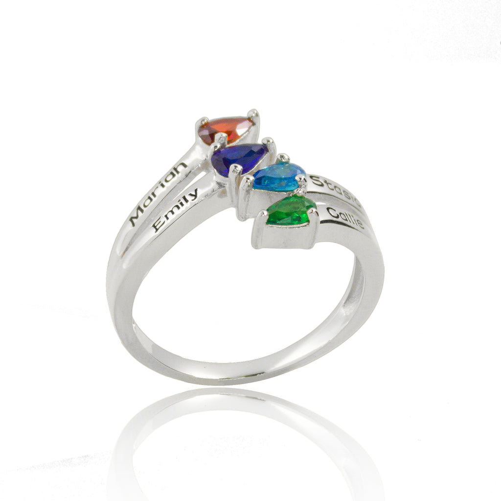 Mother's Birthstone Ring with Children's Names
