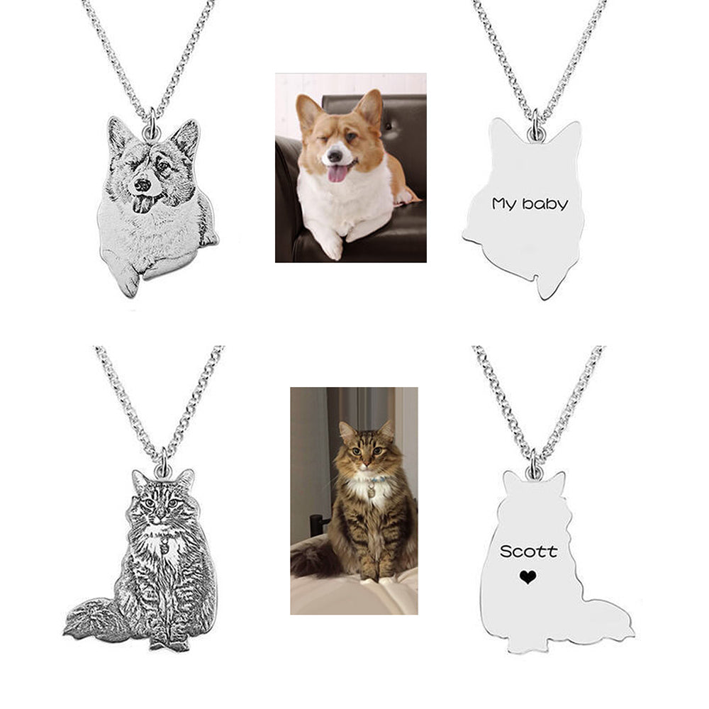 Pet Photo Necklace Engraved Any Pet Sterling Silver