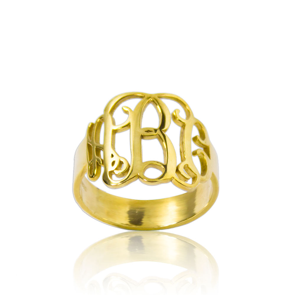 Monogrammed Ring Custom Initial Gold