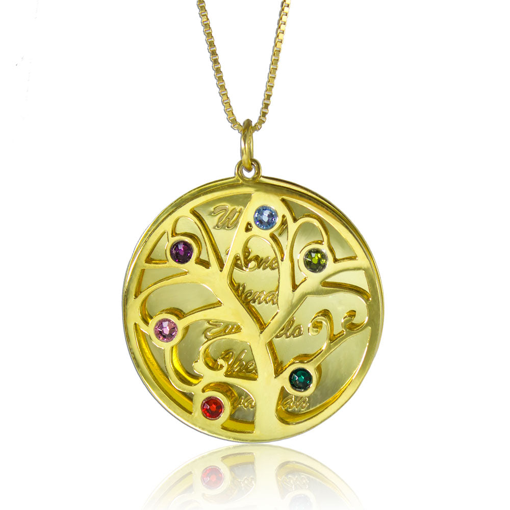 Family Tree Personalized Necklace Gold