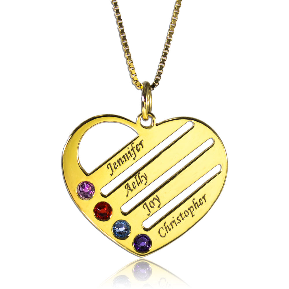 Heart Family Birthstone Necklace Gold