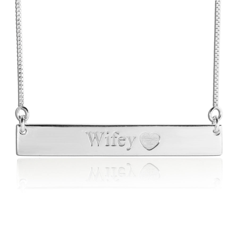 Engraved Nameplate Necklace Silver