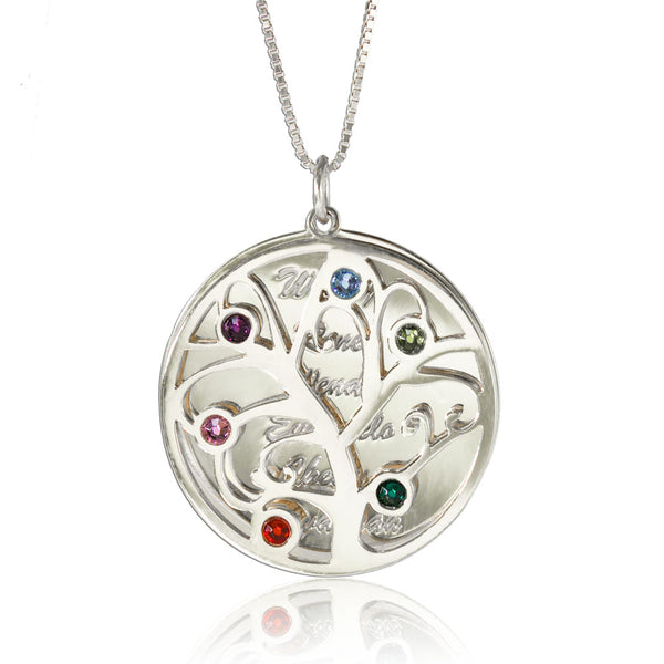 Family Tree Pendant Necklace Personalized Silver