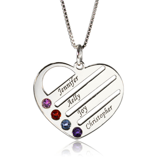 Birthstone 4 Names Necklace Heart Silver