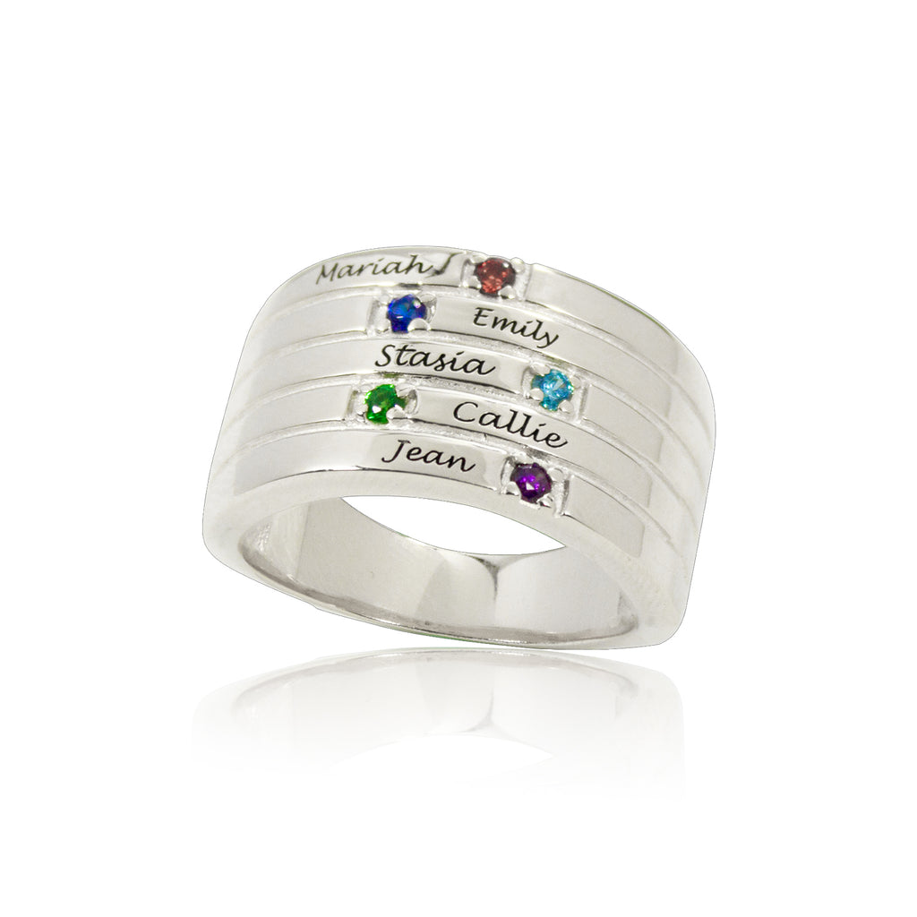 Personalized Family Birthstone Ring Silver