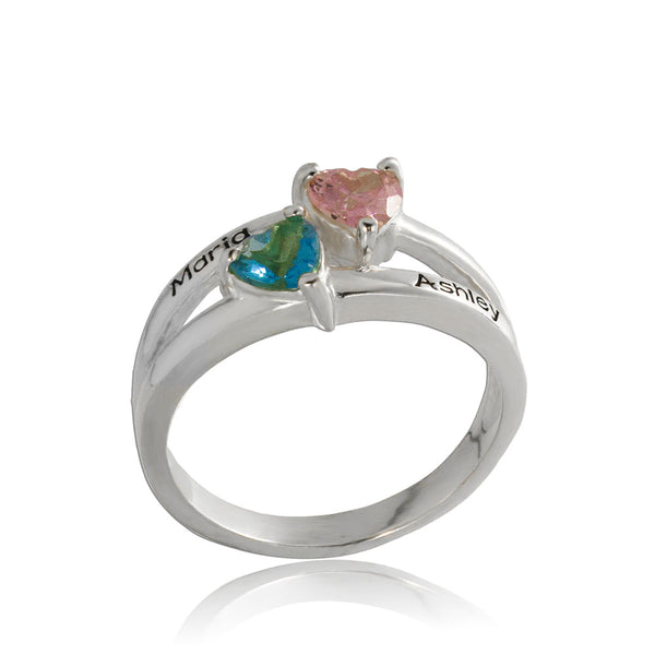 Silver Personalized Birthstone Couple's Ring