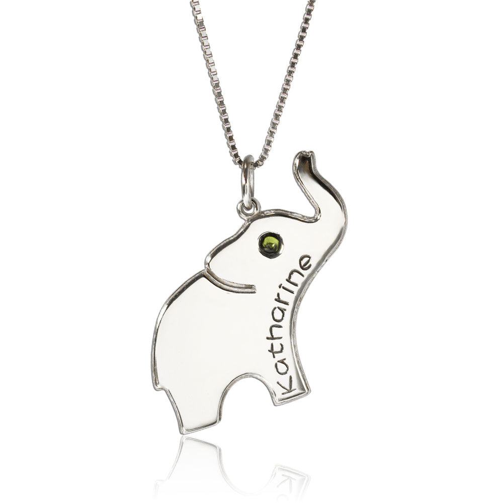 Elephant Personalized Necklace Silver