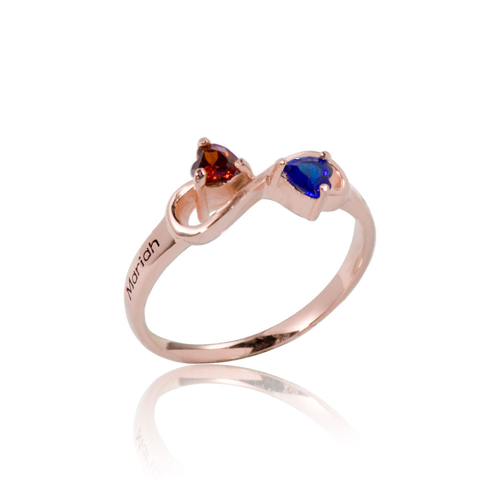 Infinity Birthstone Ring Rose Gold