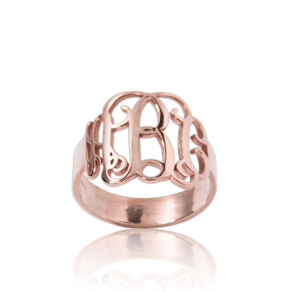 Rose Gold Monogram Ring Personalized