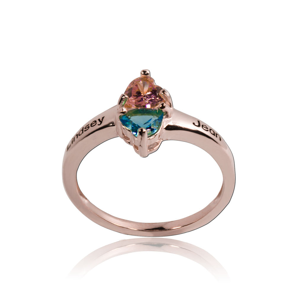 Couple Birthstone Ring Rose Gold