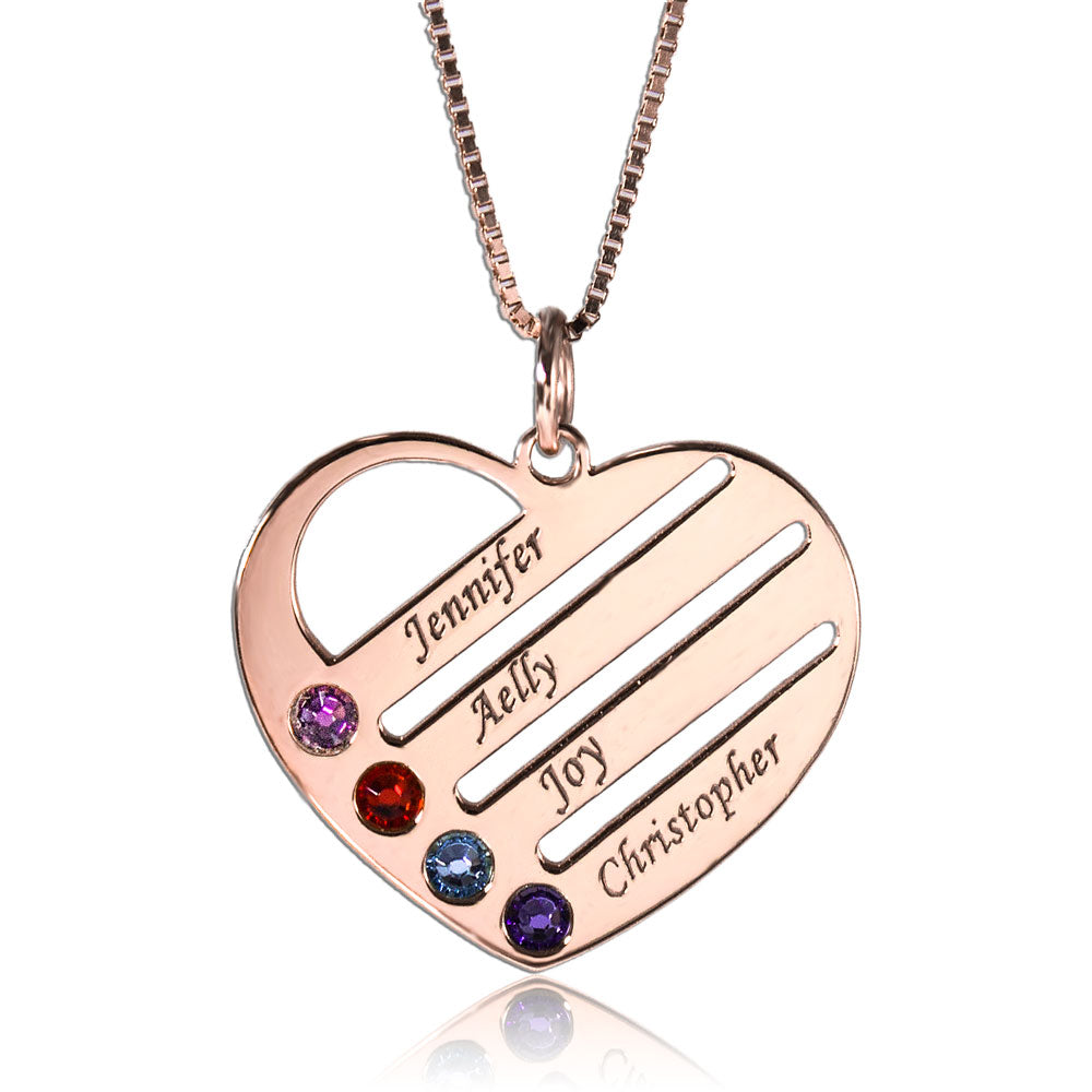 Heart Family Birthstone Necklace With Names Rose Gold