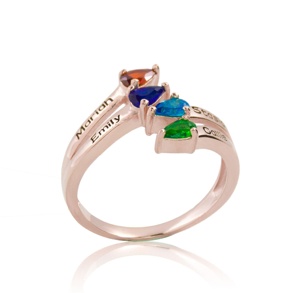 4 Birthstone 4 Names Ring Rose Gold