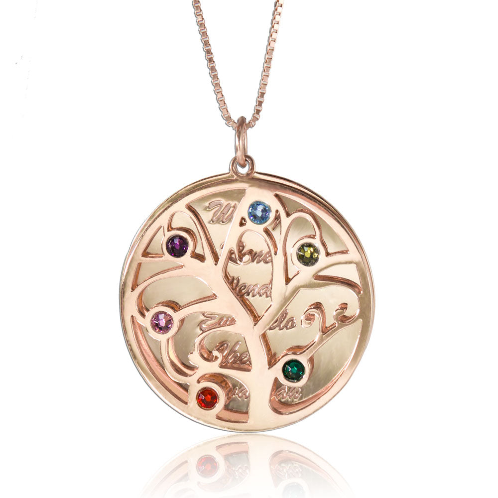 Personalized Family Tree Necklace Rose Gold