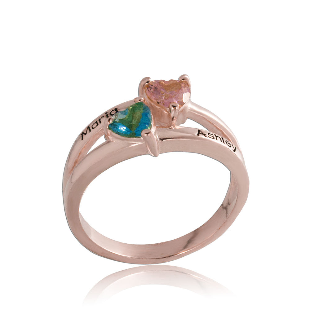 2 Birthstone Ring With 2 Names Rose Gold