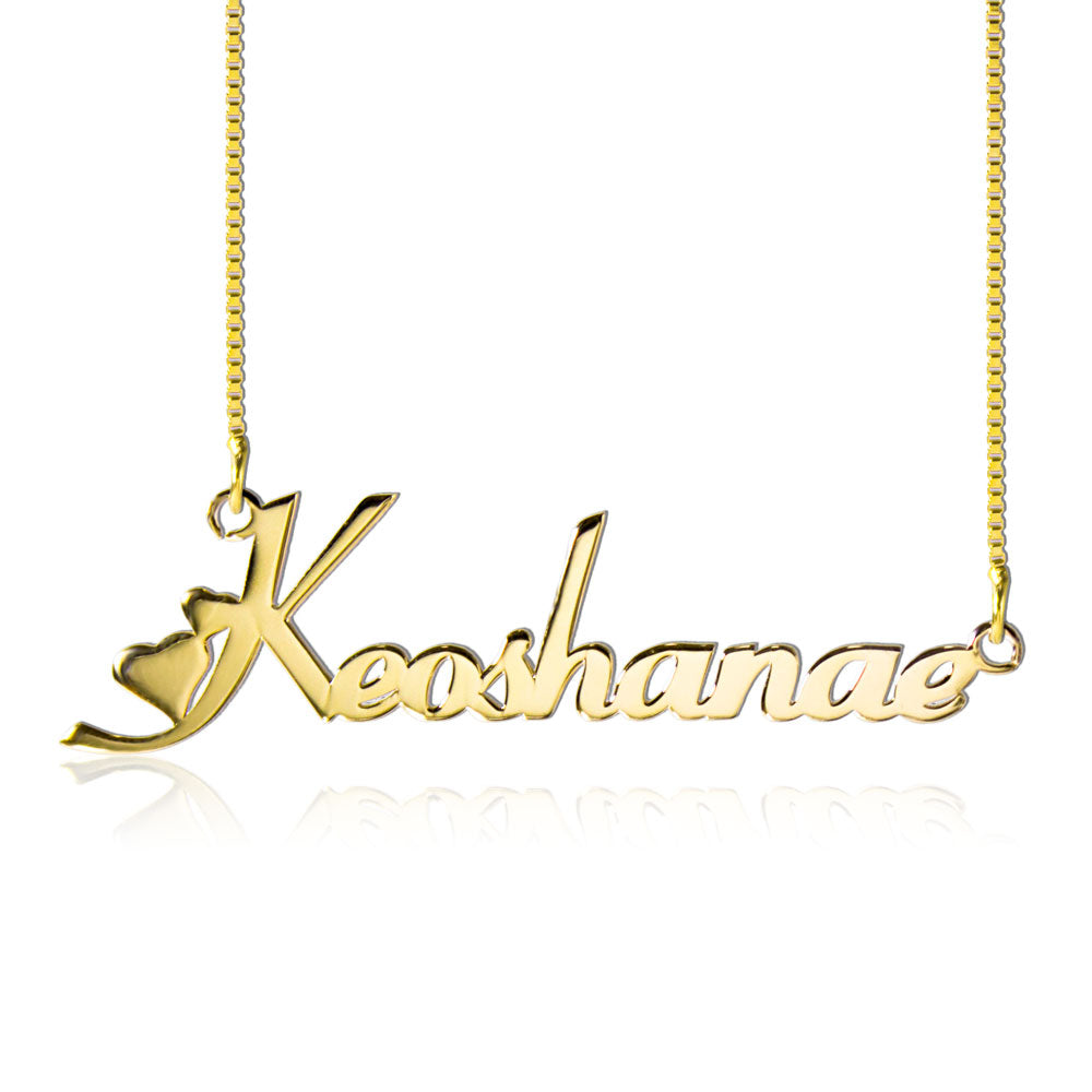Personalized Gold Heart Style Name Necklace