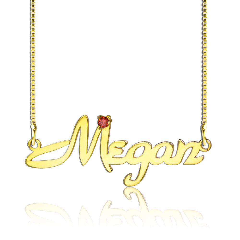 Gold Name Necklace with a Birthstone