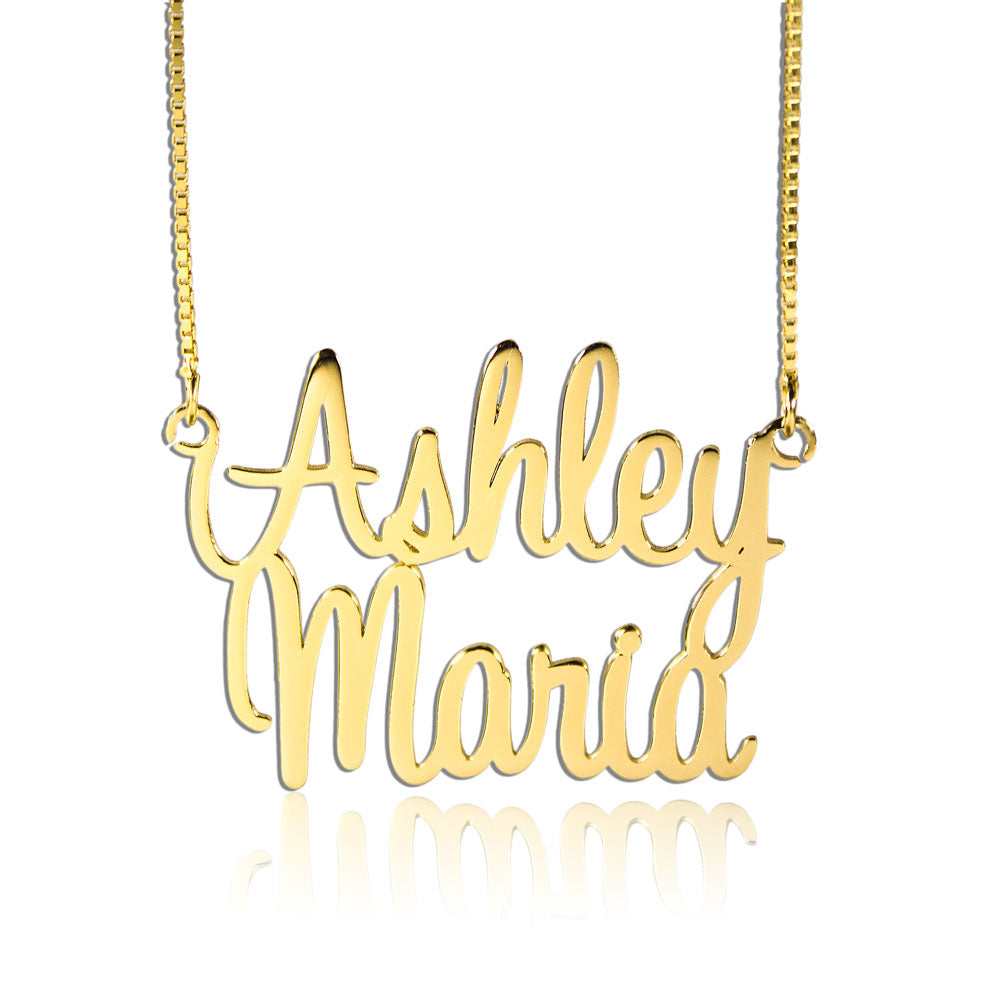 2 Name Necklace Personalized Gift Gold