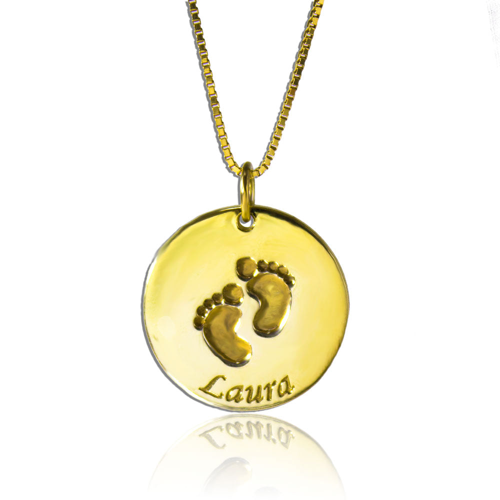 Personalized Circle Footprints Pendant Necklace