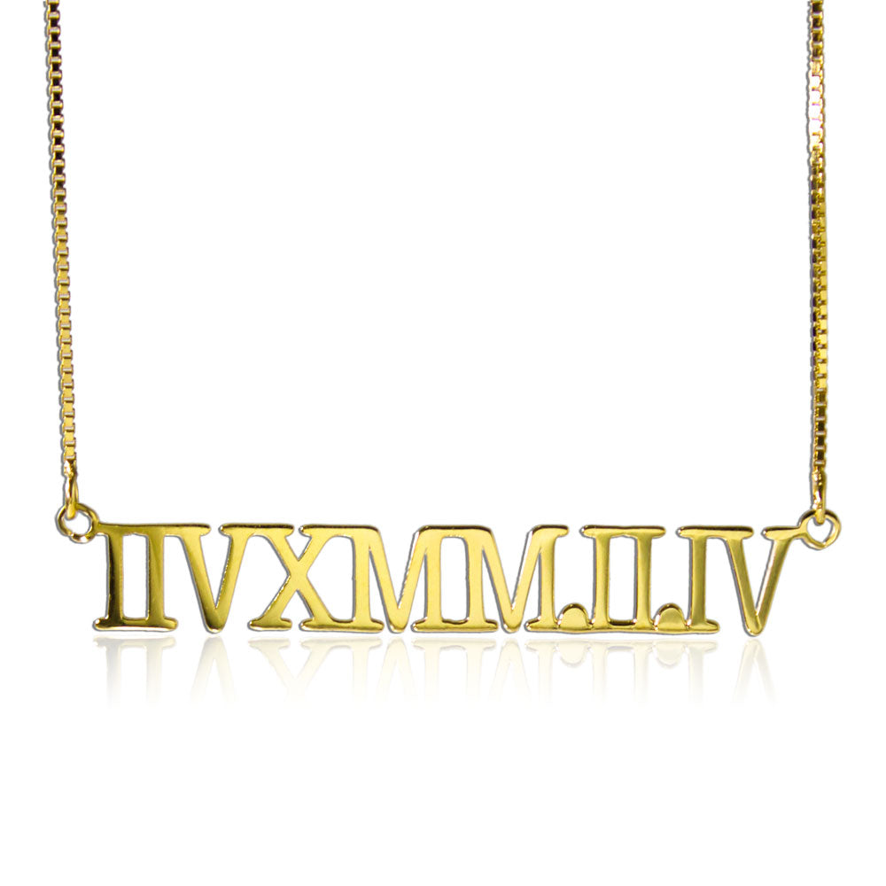 Custom Roman Numerals Necklace Gold