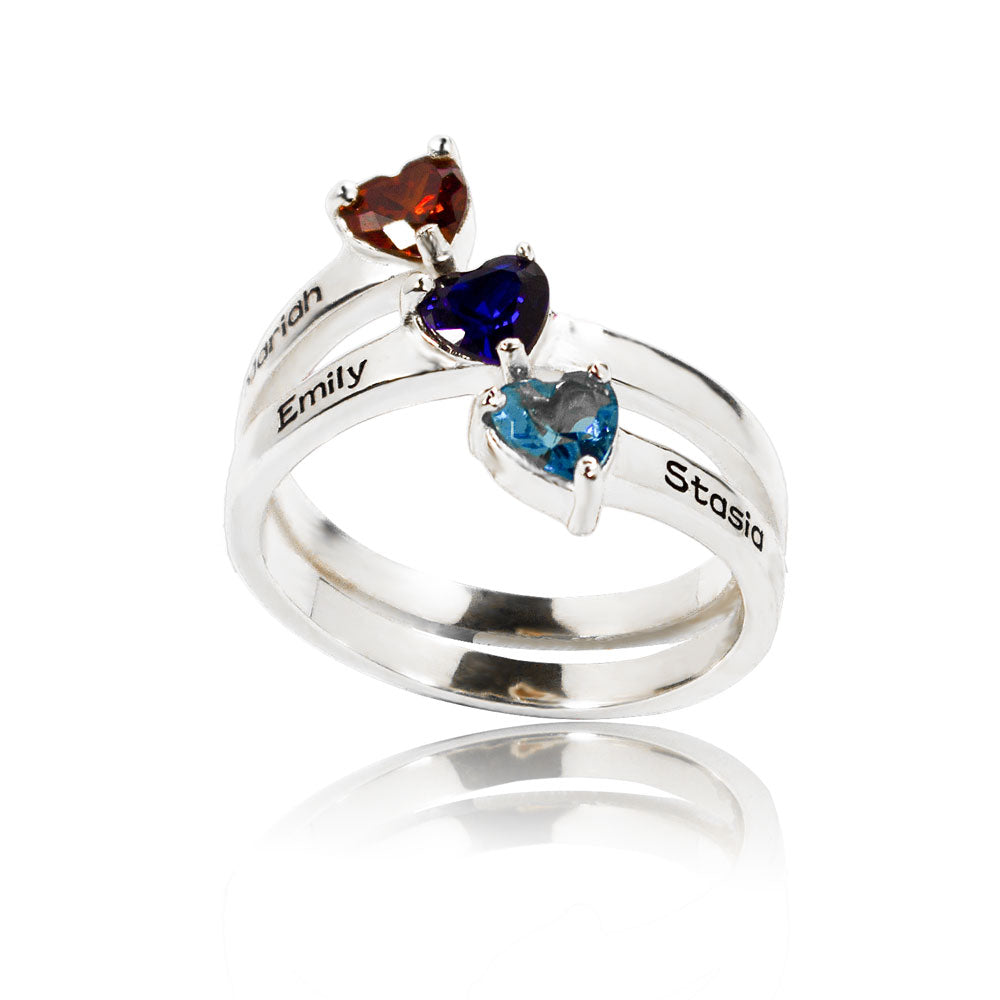 3 Birthstone 3 Names Ring Silver