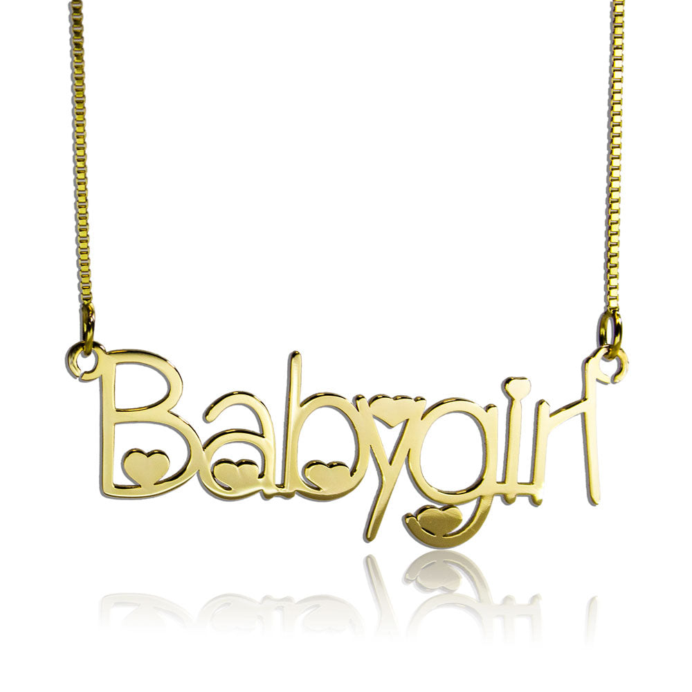 Heart Style Name Necklace Gold Plated