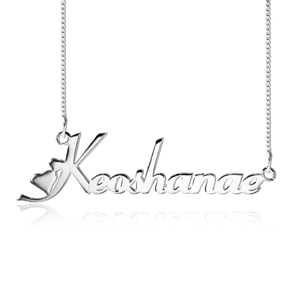 Silver Personalized Name and Hearts Necklace
