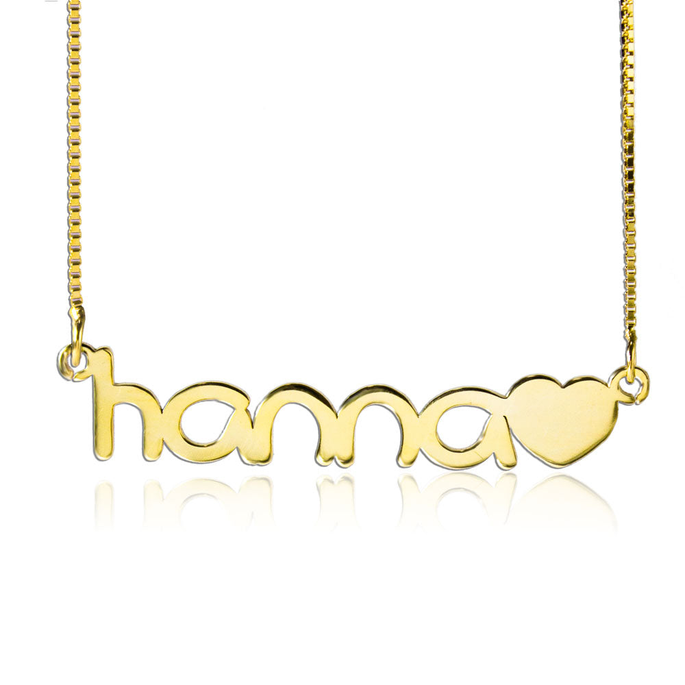 Custom Name Necklace And Heart Gold