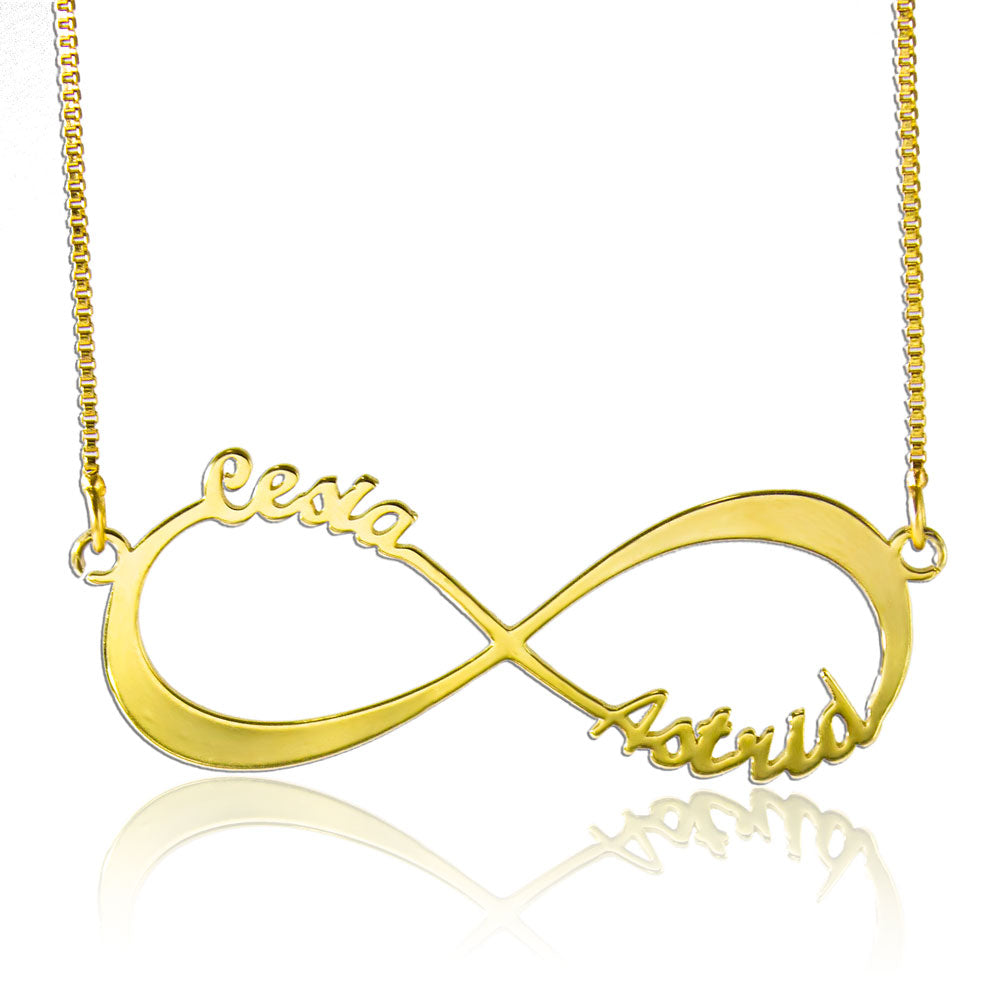 Personalized Infinity Necklace Gold