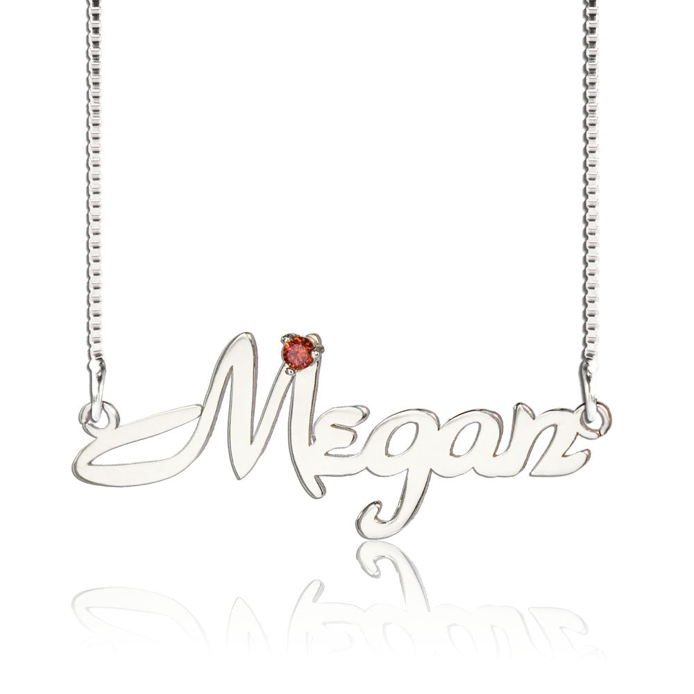 Custom Name Necklace With Birthstone Silver