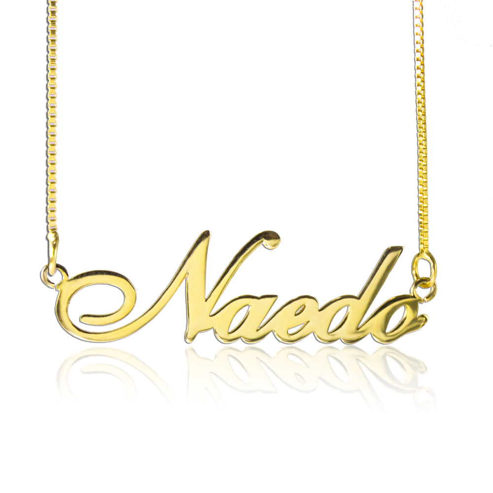 Cursive Font Name Necklace Personalized Gold