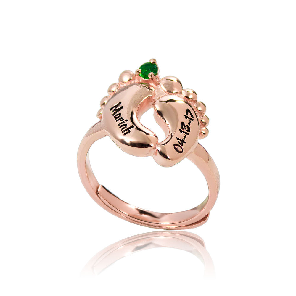 Baby Feet Birthstone Ring Rose Gold