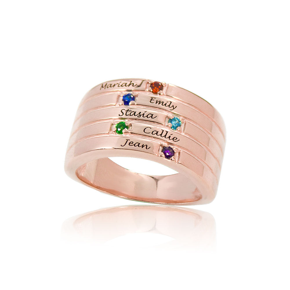 Personalized Family Birthstone Ring 5 Names Rose Gold