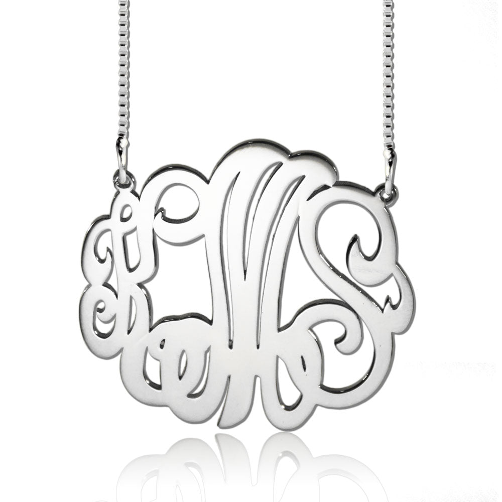 Personalized Script Monogram Necklace Silver