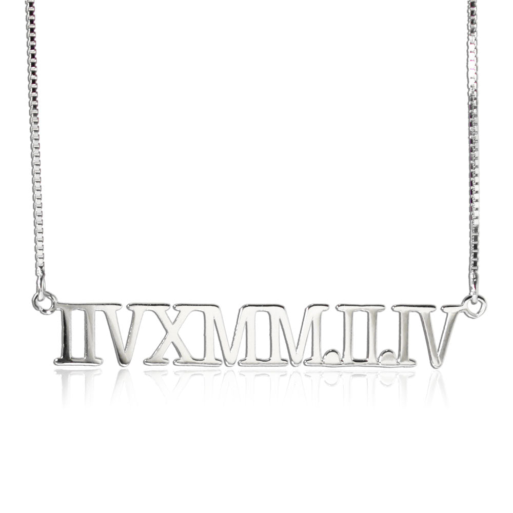Silver Roman Numerals Personalized Necklace