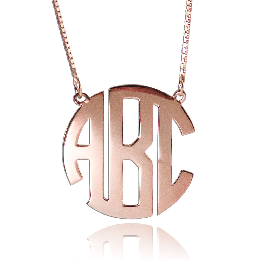 Circle Initial Necklace Rose Gold